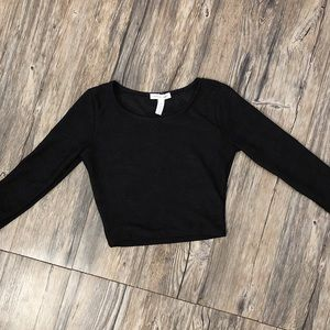 Black long sleeve lace detail crop top
